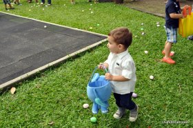 Evan getting ready to hunt some eggs at the American Club (more on that later)