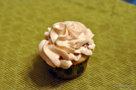 Vanilla Bean Cupcake with Strawberry Icing