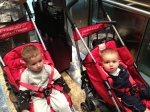 Two Boys at the Dubai Airport (Yay for airport strollers)