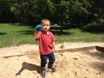 At another park playing in the sand