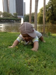 Joshua crawling on the grass