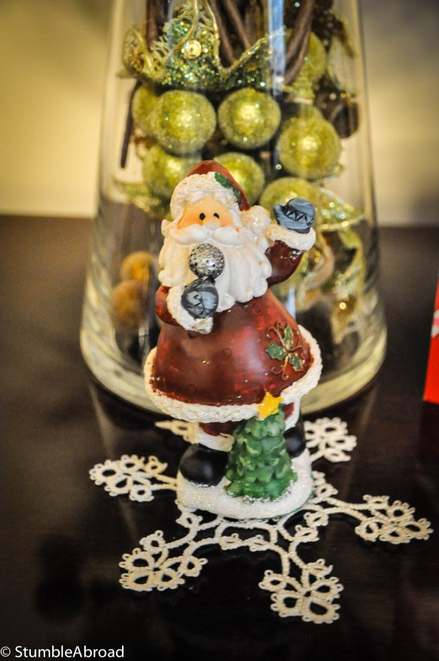Hand sewn snowflake and Santa (presents from grandma and grandpa)