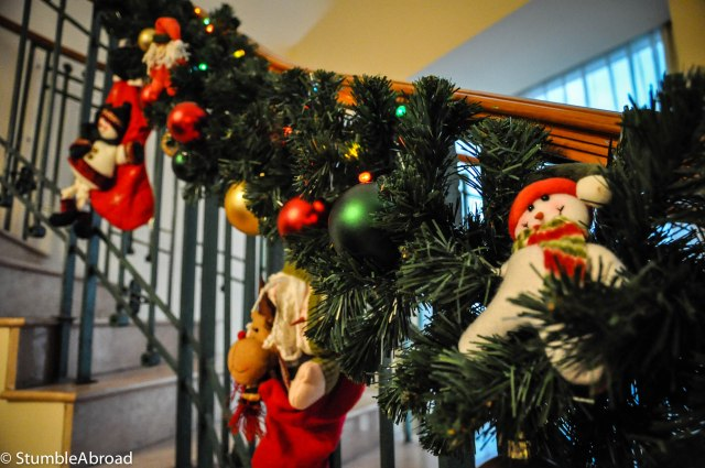 Closeup of the stair garland