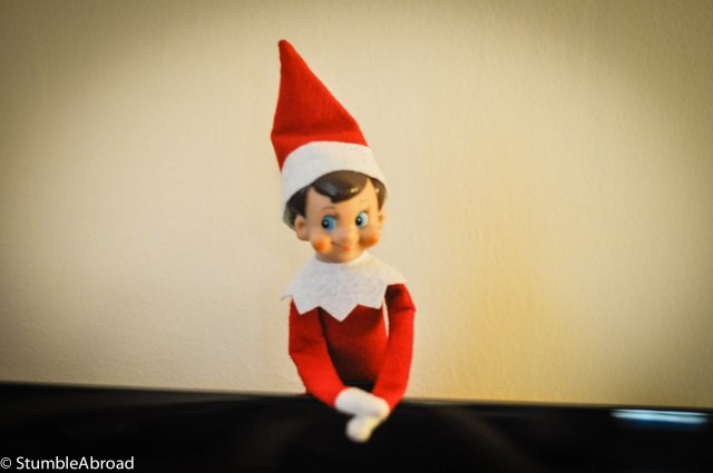 The Elf on a Shelf, in this case behind the TV