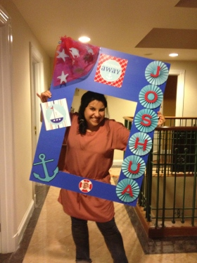 My friend Priscilla Holding the Frame for Josh's Party