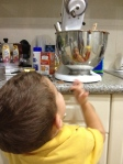 Evan helping with the baking process....