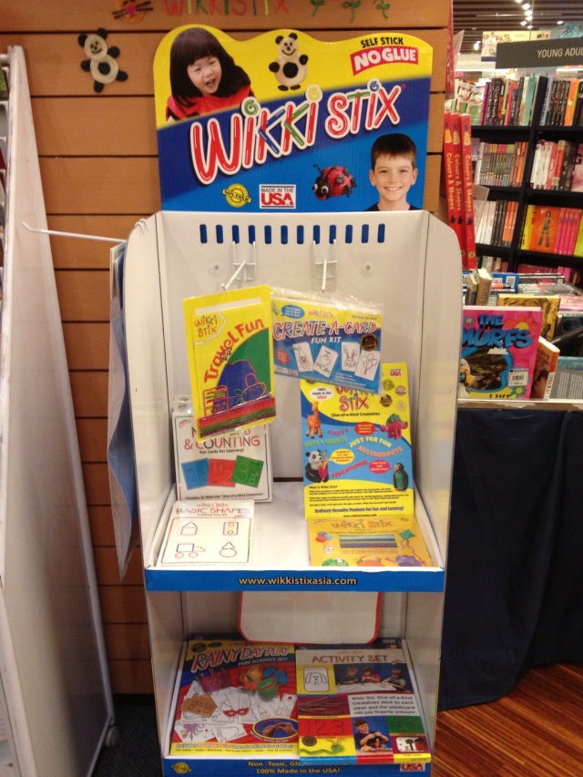 Wikki Stix display at Kinokuniya Bookstore