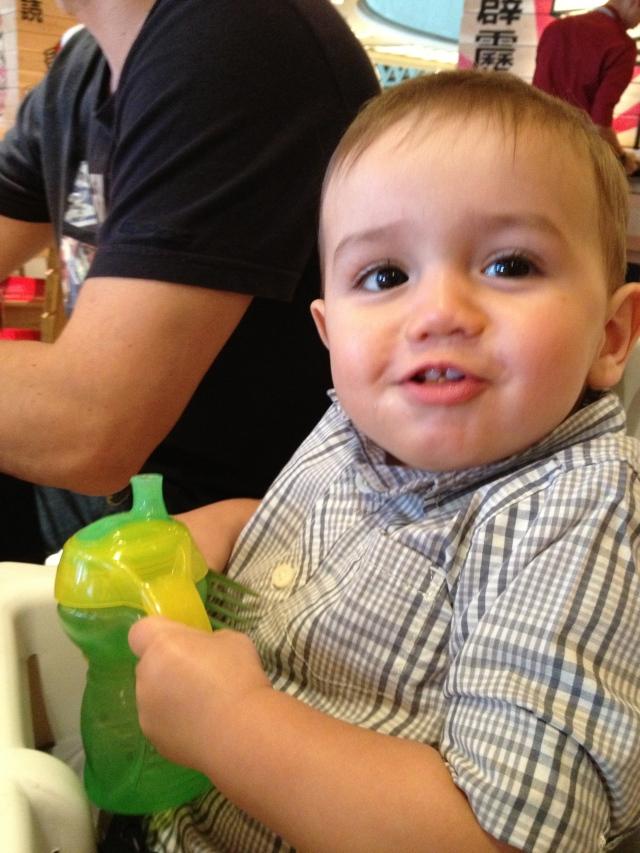 Josh enjoying the food