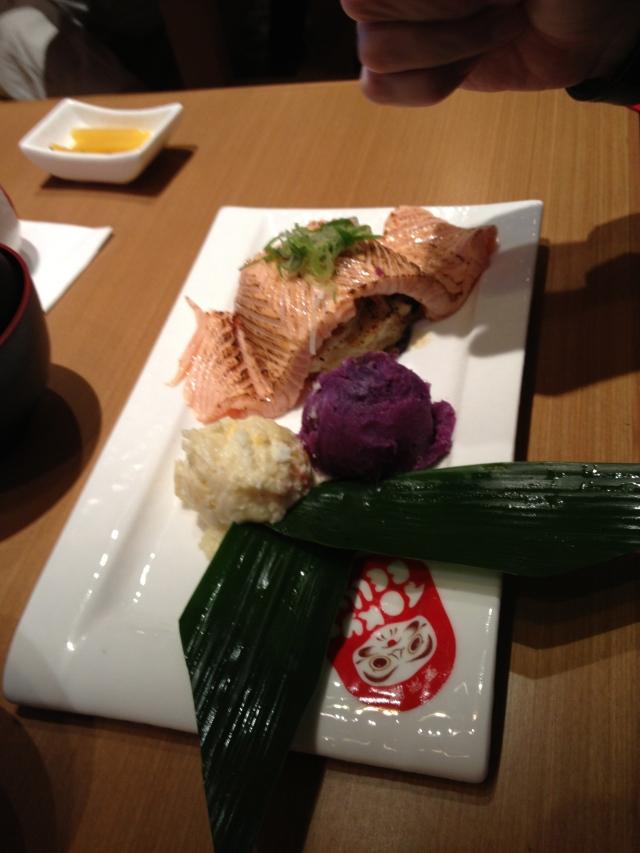 Salmon over sea scallops and mushrooms with sweet potato puree