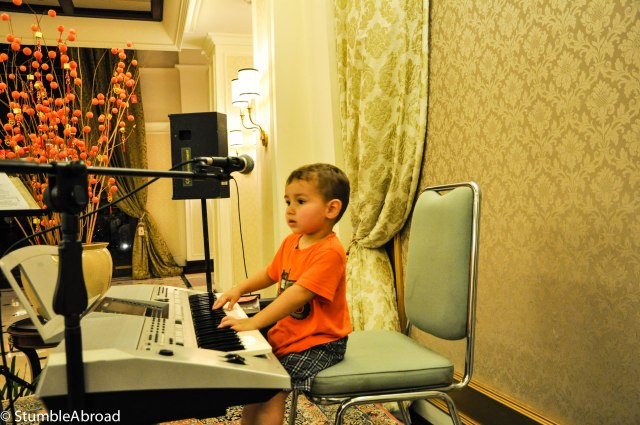 Evan ended up playing the keyboard while our neighbors fought for a beer drinking championship title