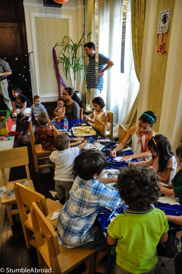 Kids having fun on the craft table