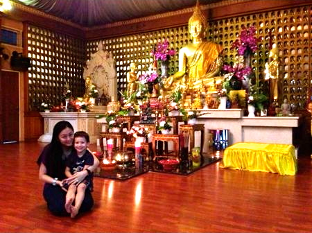 Cindy and Styl at a buddhist temple in Jakarta