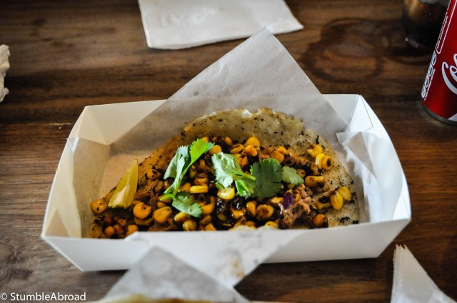 Pulled beef with elote (corn)