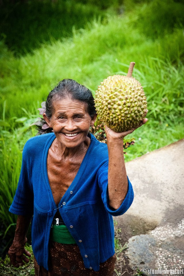Beautiful Balinese Lady selling Durian