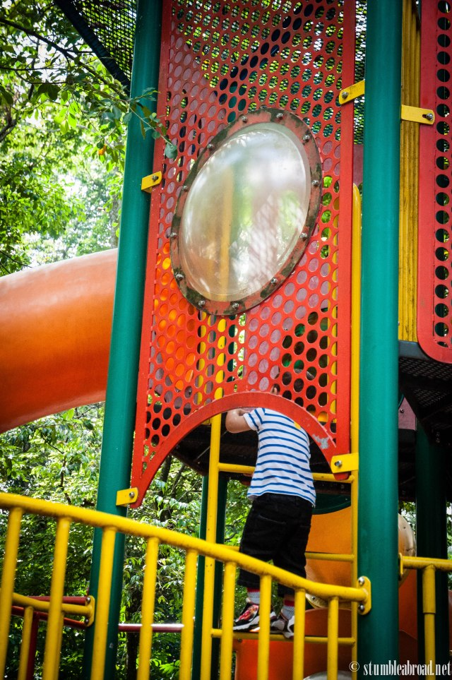 Evan was a pro climbing the ladders and going down the slide.