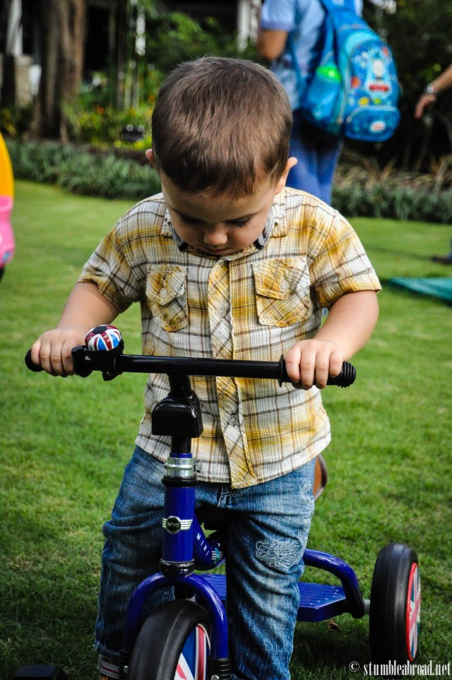 Josh working on his trike-riding skills