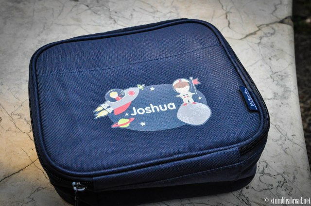Joshua's lunchbox. Although it is being used as a toy box for now...