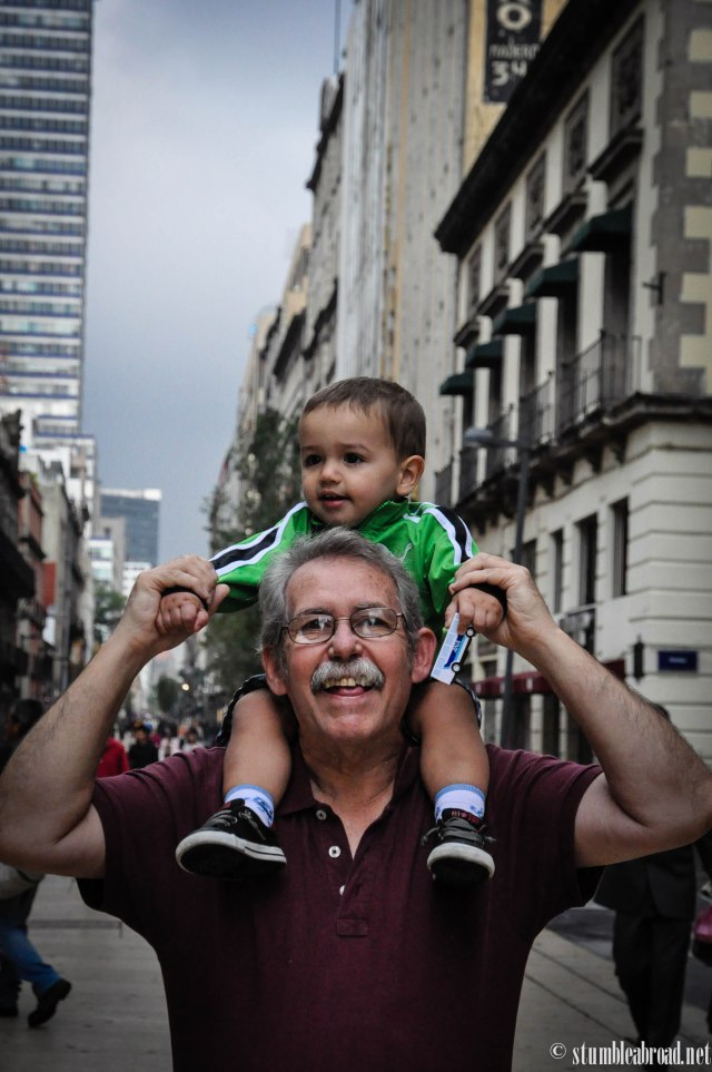 Enjoyed the view in Mexico City atop abuelo's shoulders.