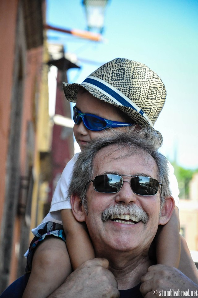Enjoyed riding on abuelo's shoulders.