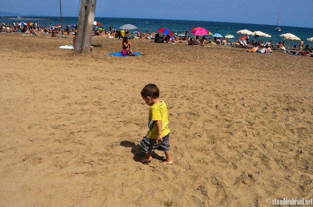 Evan was eager to play in the sand