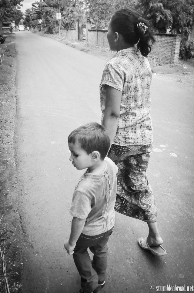 Walking to the Village with a new friend