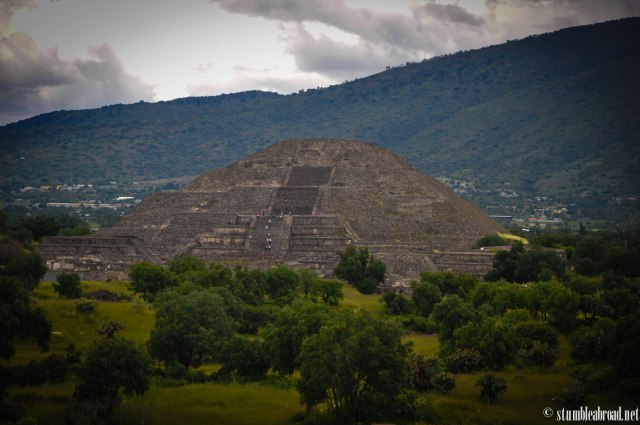 The Pyramid of the Moon as seen from the Pyramid of the Sun