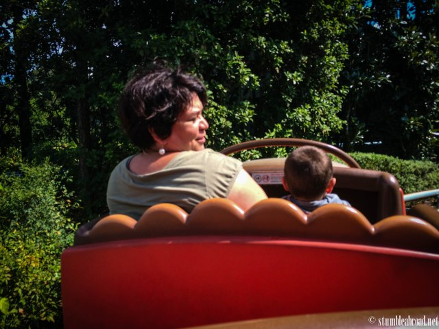 Riding with abuela.